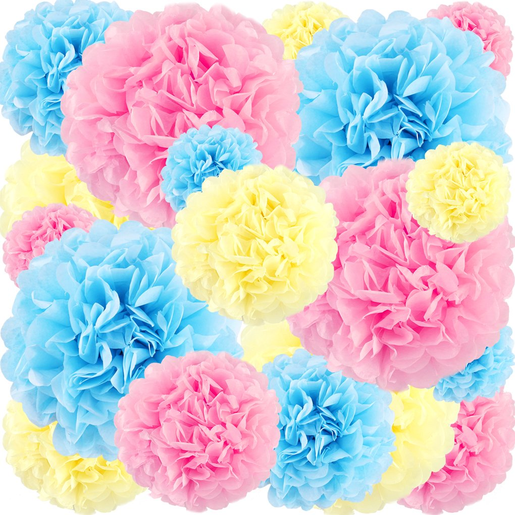 Amazon Pink And Blue Tissue Paper Pom Poms Flowers Hanging