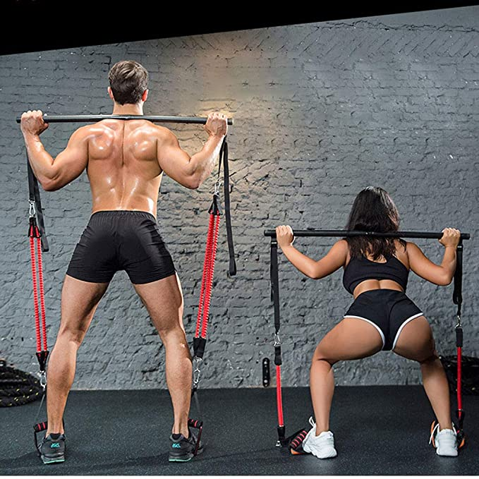 Details about  /Pilates Bar Resistance Band Adjustable Exercise Stick Yoga Toning Gym Training