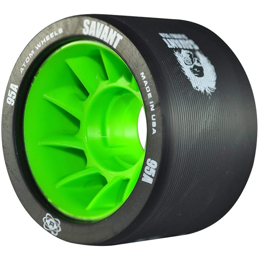 Atom Savant Roller Derby Wheels - Ultra Light For Perfect Speed and Control - New-Available in 88A-97A - With Free Devaskation Bracelet (Black-95A 8 Pack) by ATOM