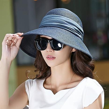 Buona - Cappello Cappello Blu Scuro Femminile Estate Cappello di Paglia  Pieghevole Cappello di Sun Protezione 7832b96b076b