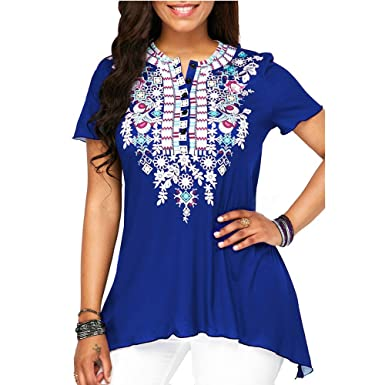 bd8d1a276 Amazon.com: GOVOW Spring Deals 2019 ! National style O-Neck Printing ...