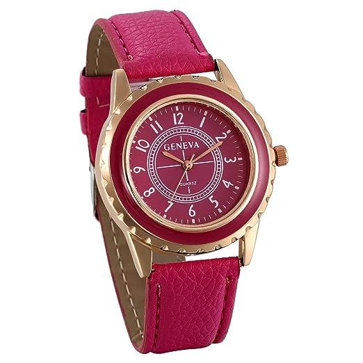 JewelryWe Relojes para Mujer Analógico Correa de Cuero Retro Vintage, Reloj de Pulsera para Mujer Rosa 3 Colores Disponibles para el Verano 2017: Amazon.es: ...