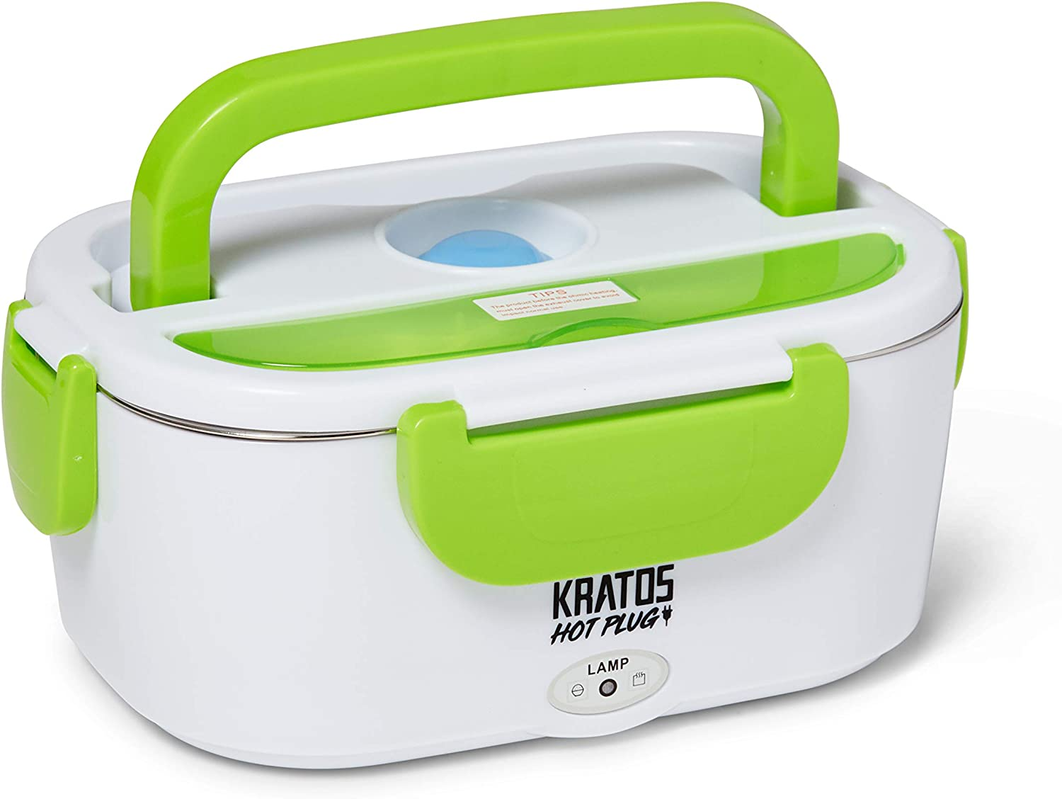 KRATOS HOTPLUG - Premium Mini Hot Box - Traveling/Commuting/Camping/Lunch Containers - Heated Food Container - Road Appliances - Portable Electric Lunchbox - Stainless Steel (Green) Product Name