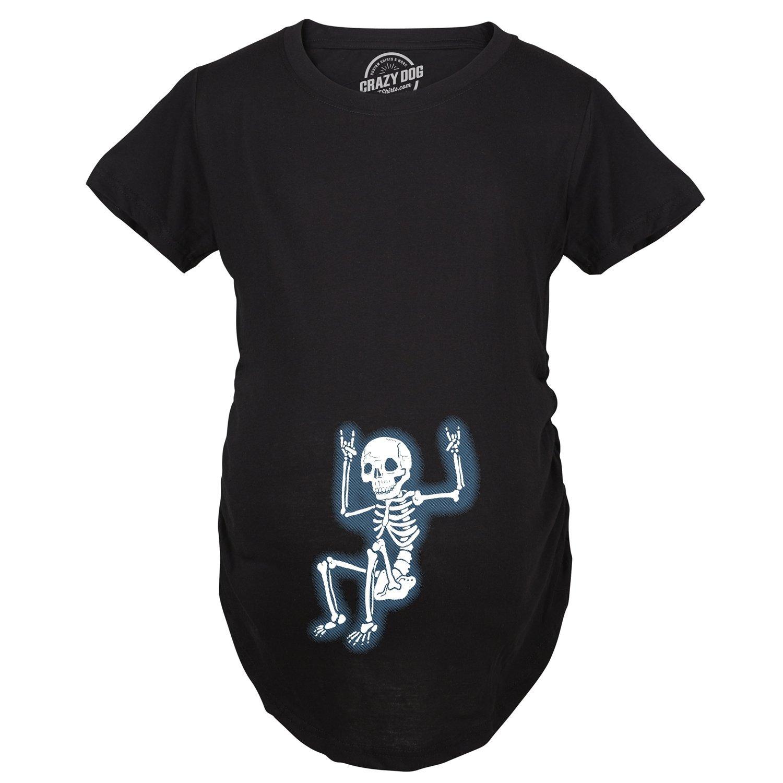 Maternity Rockstar Skeleton Funny T shirt Halloween Im Pregnant T shirt Crazy Dog Tshirts