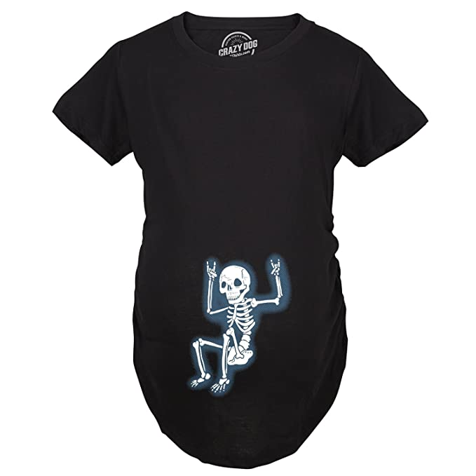 Halloween Pregnancy T Shirt.Crazy Dog T Shirts Maternity Rockstar Skeleton Funny Halloween Pregnancy Music T Shirt