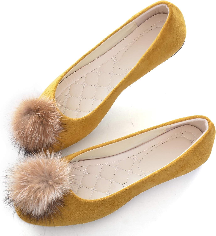 Pom Pom Elegant Flats Shoes, Slip