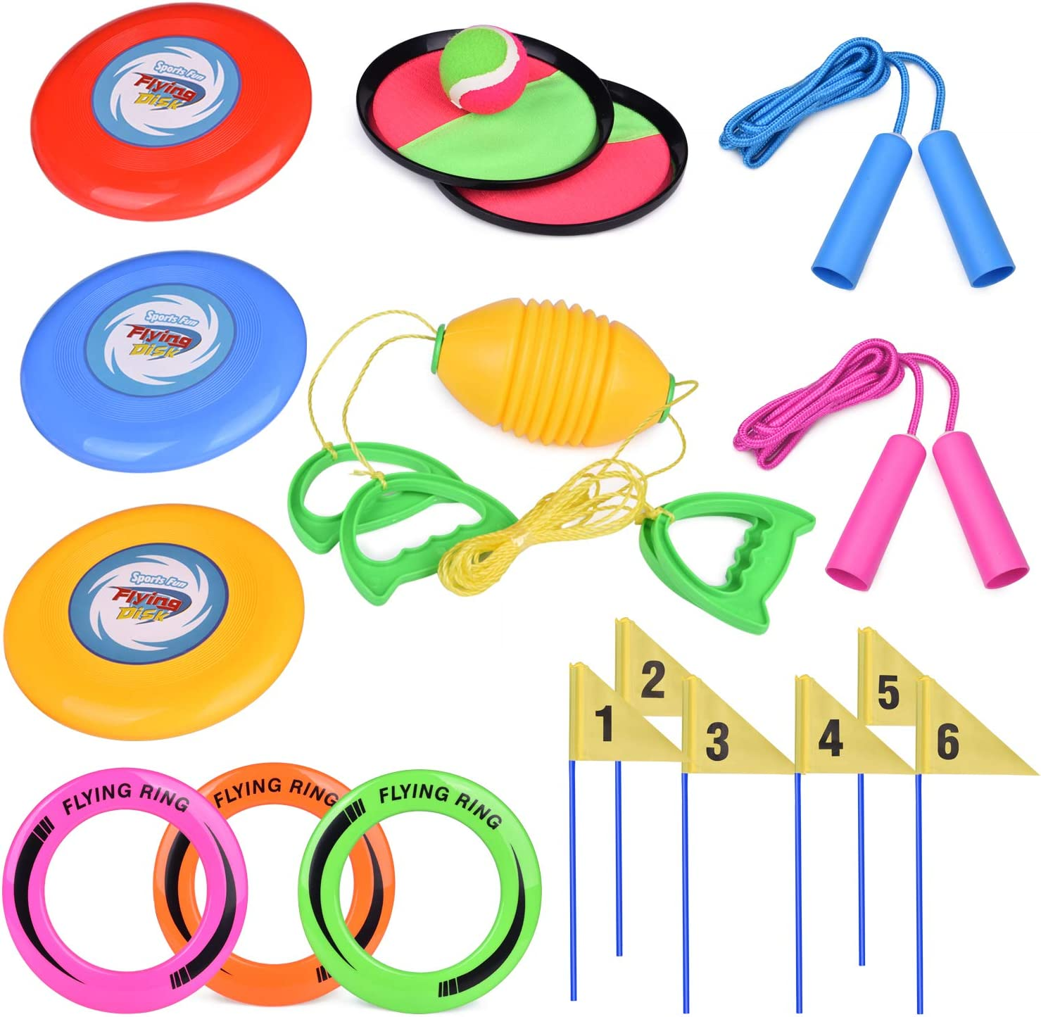 Amazon Com Fun Little Toys 5 Outdoor Games Set Kids Outdoor Toys With 6 Flying Discs Zip Ball Toss And Catch Game Ring Toss Game And 2 Jump Ropes Toys Games