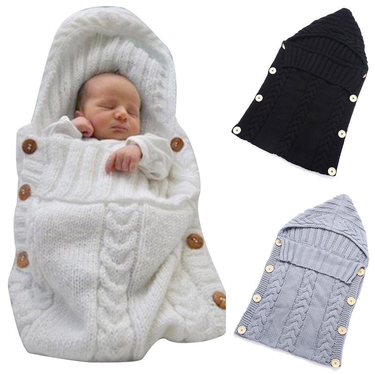 DDOQ - Manta de punto de lana para bebé (color blanco)