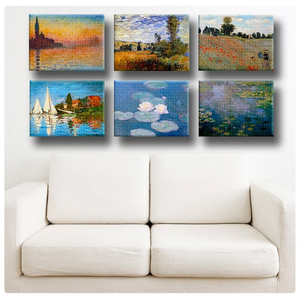 Alonline Art - Giorgio Landscape Water Lilies by Claude Monet | Framed Stretched Canvas on a Ready to Hang Frame - 100% Cotton - Gallery Wrapped | 27''x20'' - 69x51cm | Set of 6 Lot | HD giclee