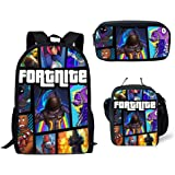Fortnite School Backpack Lunch Bag Pencil Bag, 3 Pack Fortnite Game Pattern School Bag for