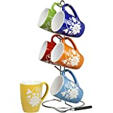 Home Basics 6-Piece Mug with Stand, Floral