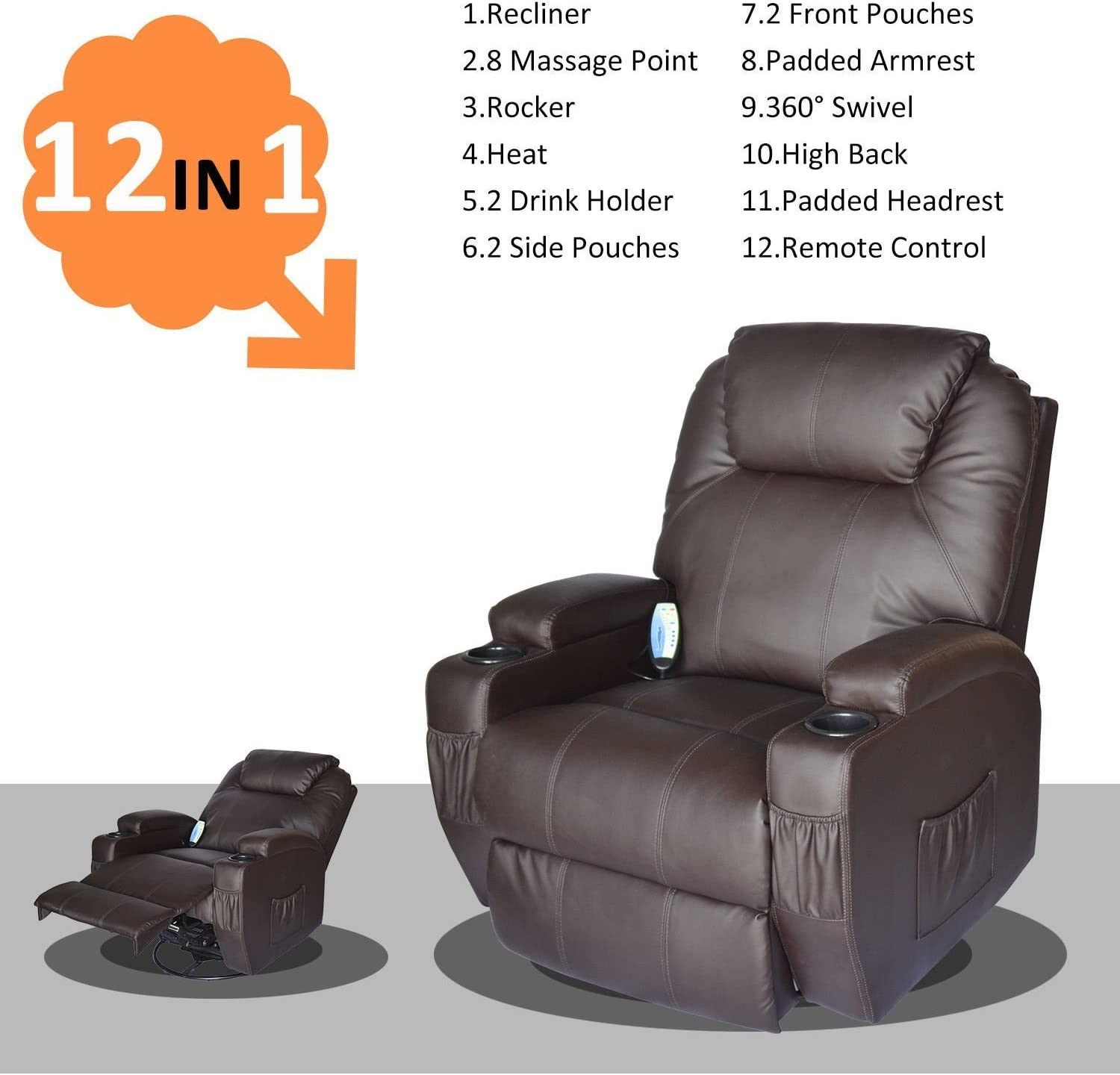 Homcom PU Leather Padded Recliner 12 in mode