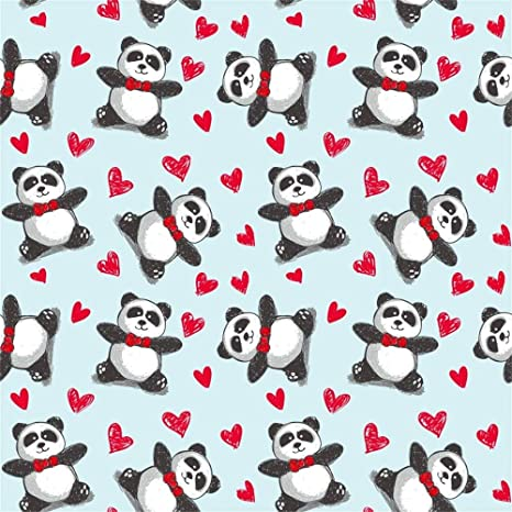 Amazon Com Laeacco 8x8ft Cartoon Cute Panda Red Love Hearts Pattern Illustration Vinyl Photography Background Baby S 1st Birthday Party Banner Backdrop Baby Shower Kid S Room Wallpaper Studio Props Camera Photo