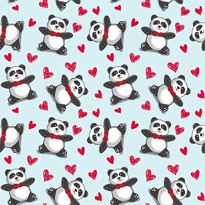 10x10ft Cartoon Cute Panda Red Love Hearts Pattern Illustration Vinyl Photography Background Babys 1st Birthday Party Banner Backdrop Baby Shower Kids Room Wallpaper Studio Props