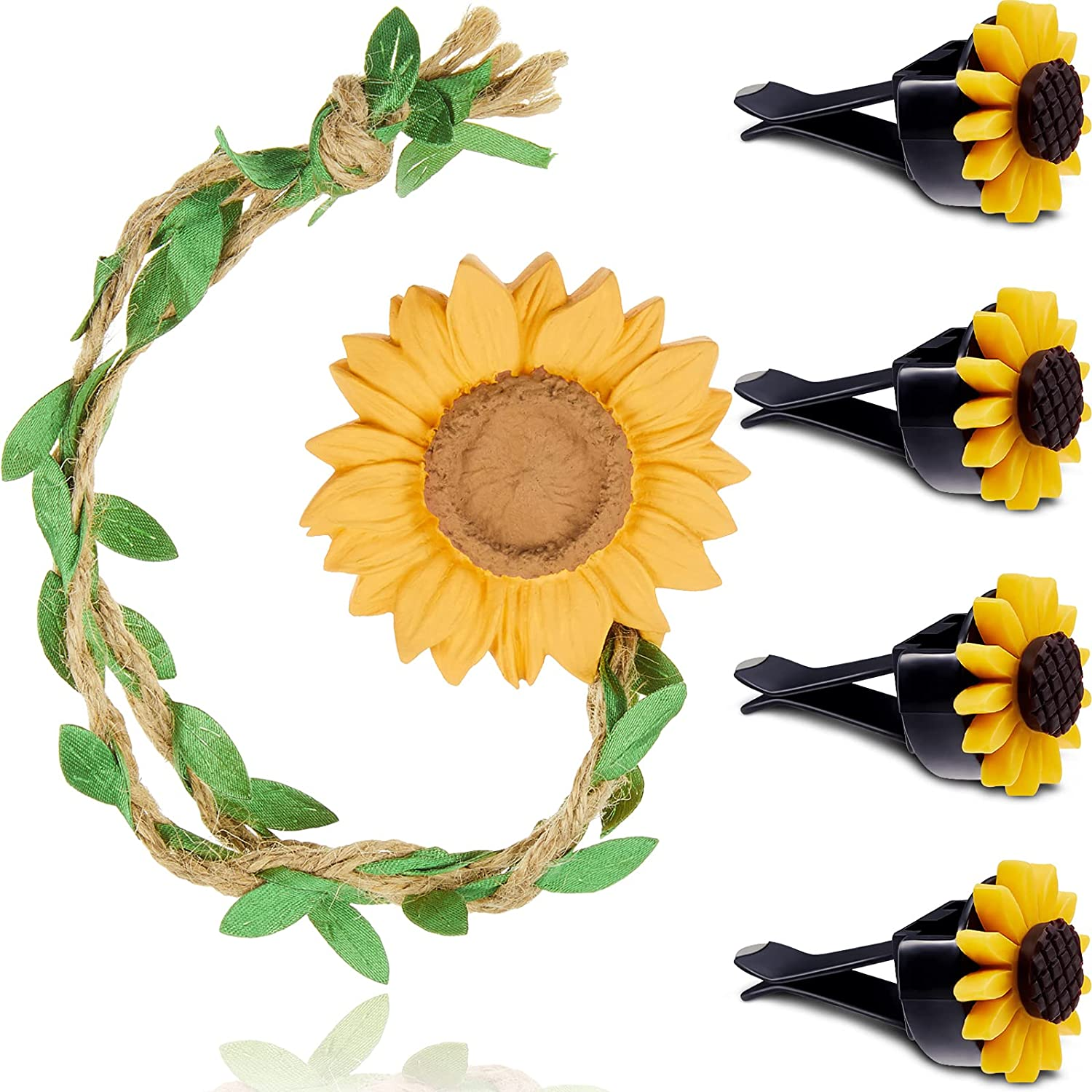 Sunflower Rear View Mirror Hanging Car Interior Accessories Car Mirror Charms Pendant Decor with 4 Pieces Car Air Freshener Clip Lucky Hanging Car Ornament Home Decoration for Women and Men