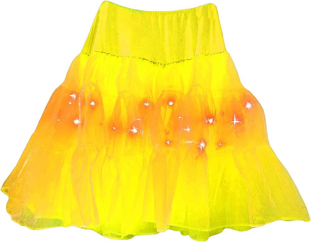 Jueshanzj - Mujer Color Sólido de Cancán Falda con Luz LED ...