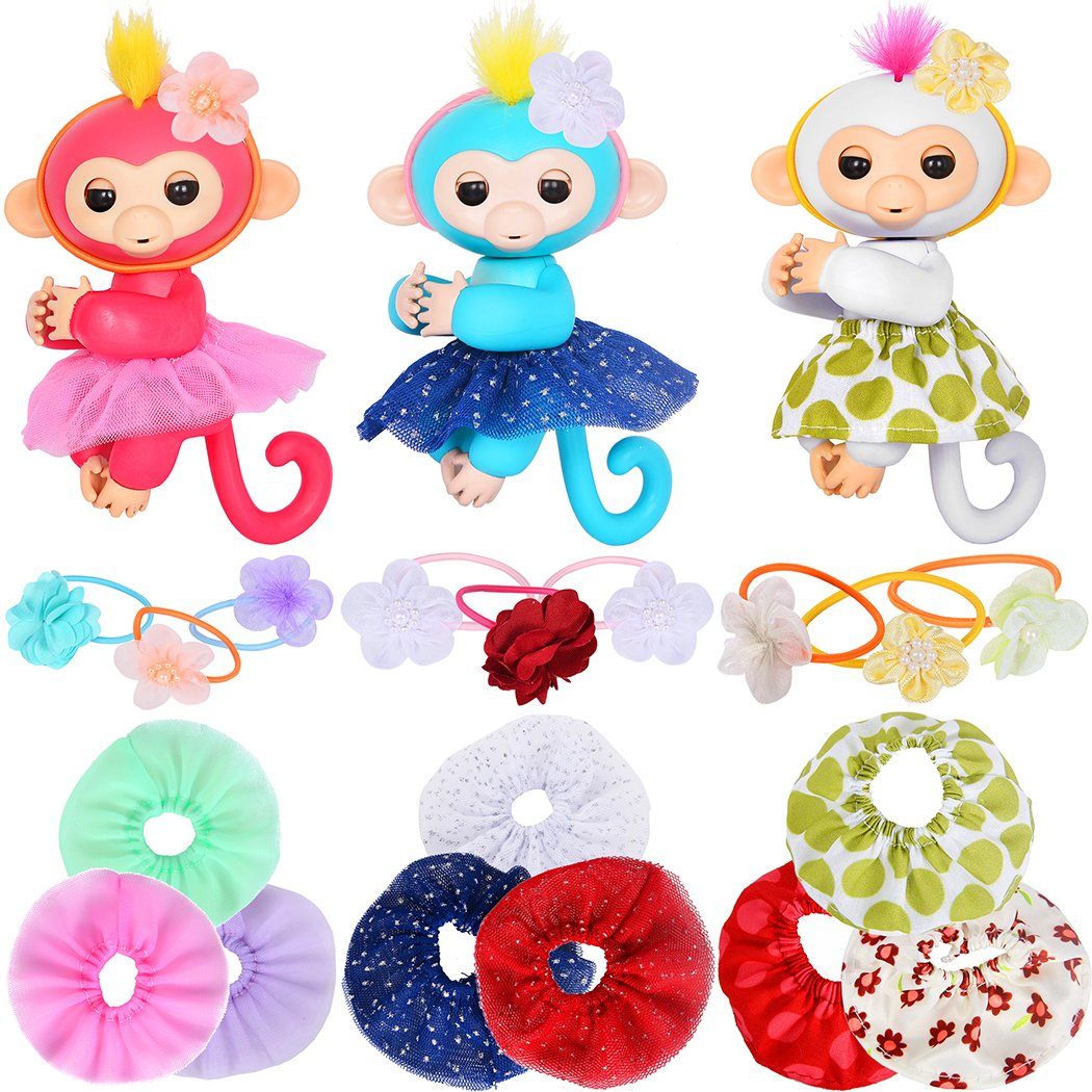 ibayda Monkey Glam 18 Piece Party Pack - Tutu Headband - Dress up Accessories for Baby Fingerlings Monkeys, Unicorns, Sloths, Pandas