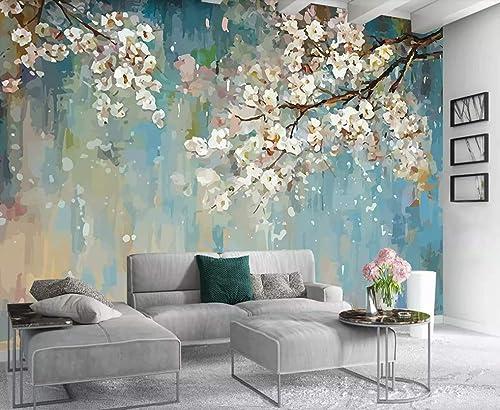 Amazon Com Murwall Floral Wallpaper Peach Blossom Wall Mural Watercolor Painting Wall Art Flower Wall Art Natural Home Decor Living Room Bedroom Handmade