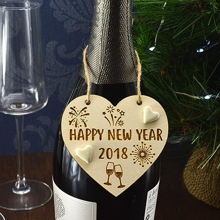 Feliz año nuevo 2018 hecho a mano botella de año nuevo ...