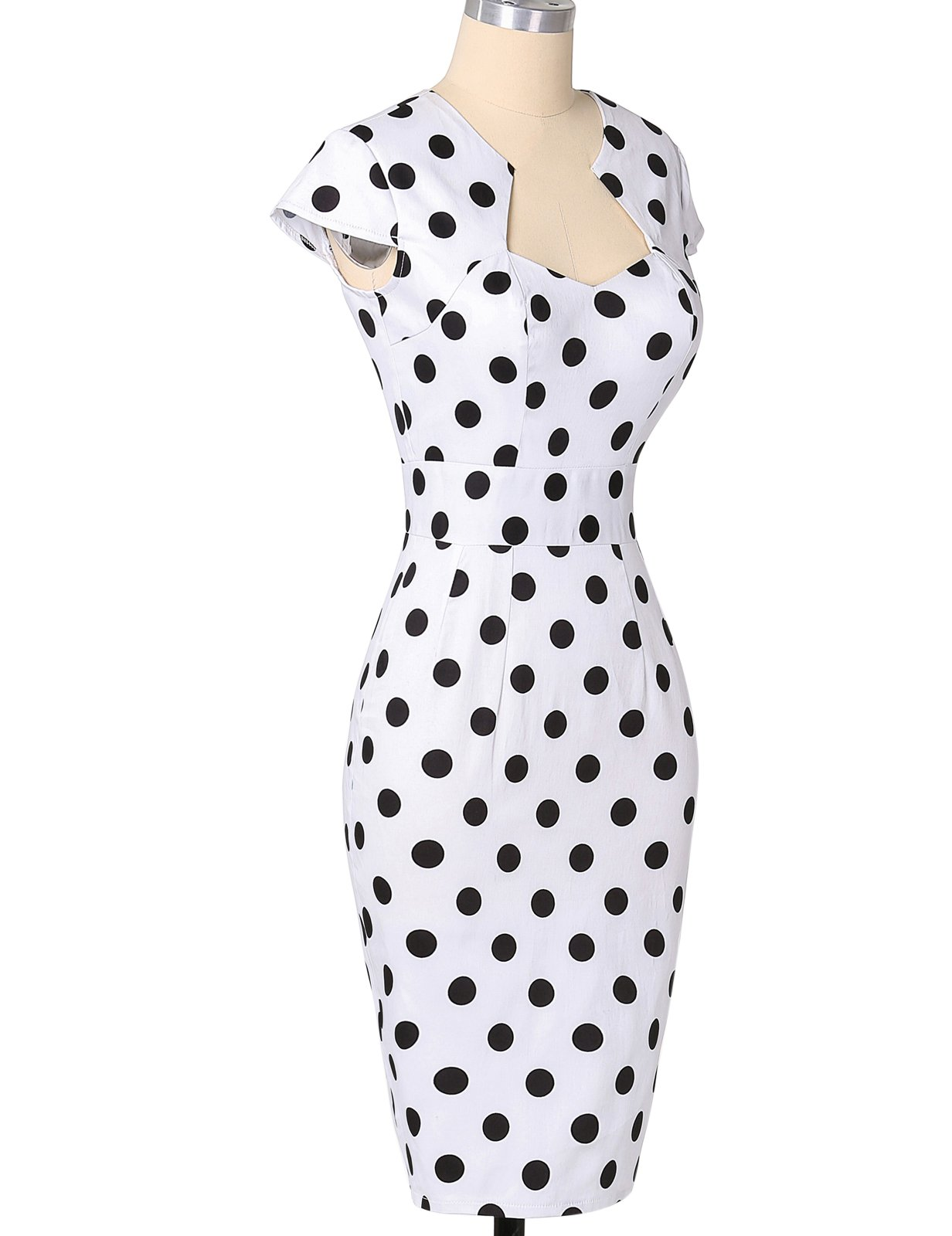 Polka Dots Vintage Ball Prom Dress Cap Sleeve White S CL7597-1 by Belle Poque Retro Dress (Image #5)