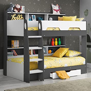 Happy Beds Wooden Bunk Bed With Underbed Storage Drawer Orion Grey