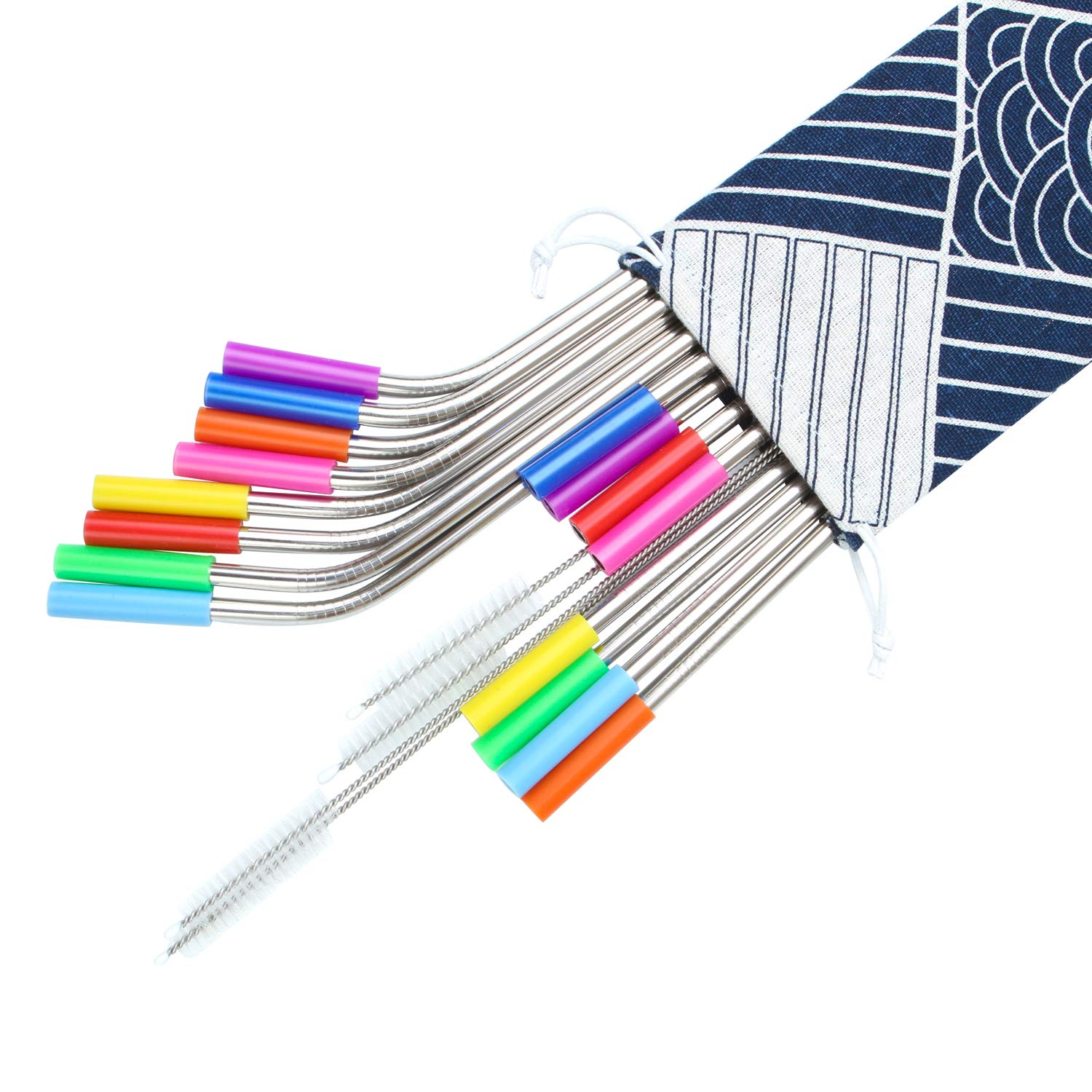 16 Pack Multicolored Silicone and Straw Carrying Case 16 Pieces Stainless Steel Straws 8.5 Inch and 10.5 Inch Reusable Drinking Metal Bent and Straight Straws with 4 Pack Cleaning Brushes
