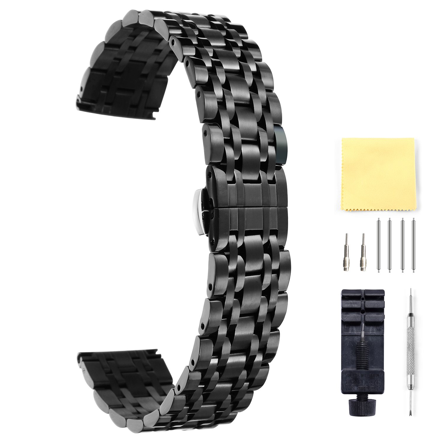 BINLUN Stainless Steel Watch Band 6 Color(Gold Silver Black Rose Gold Gold Tone Rose Gold Tone) 17 Size (10mm - 26mm)