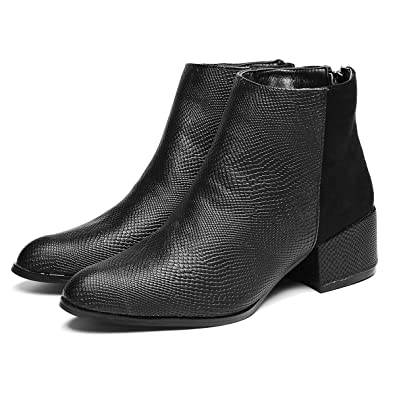 a953945d230b gracosy Women s Leather Ankle Boots Winter Boots for Women Low Heel Shoes  with Elasticated Mid Heel