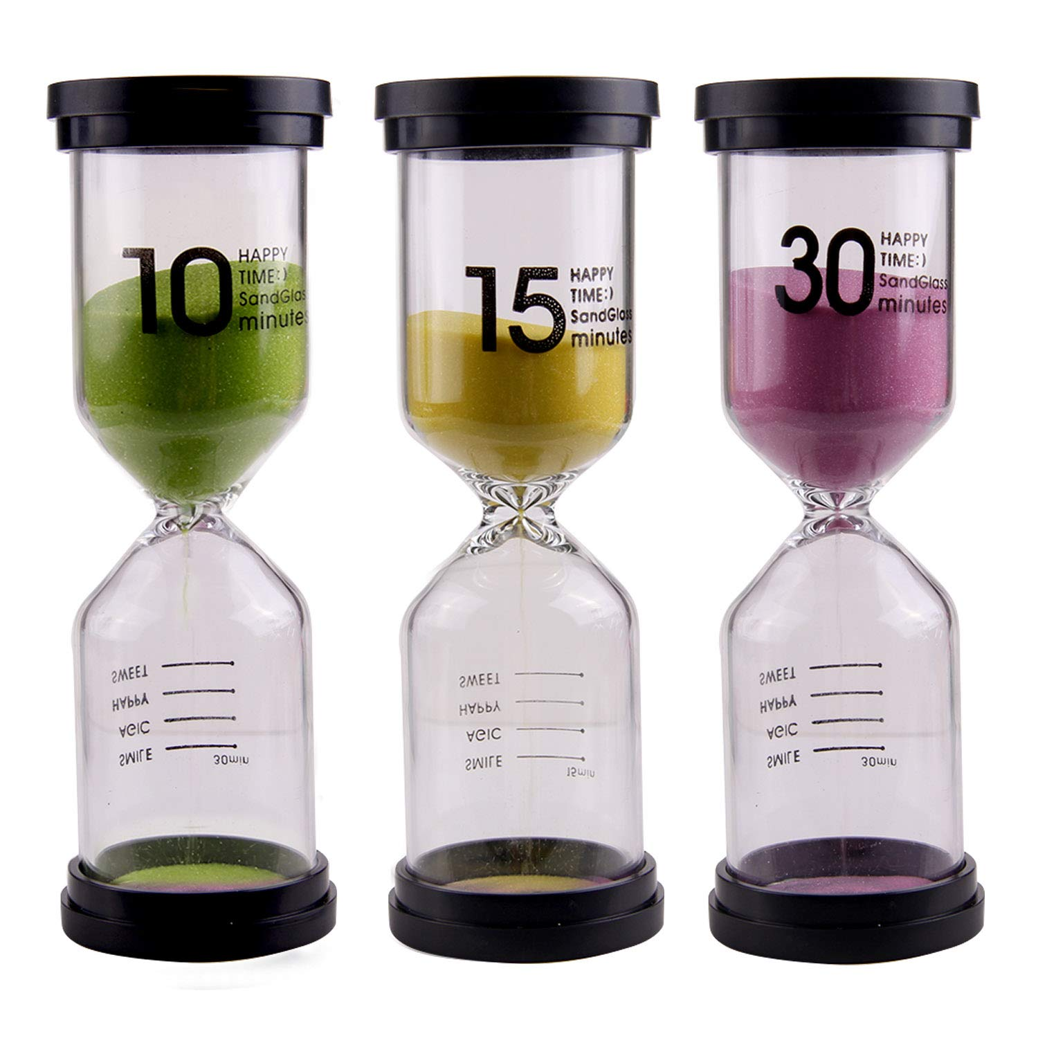 Sand Hourglass Timer,3 PCS Hourglass Sand Clock Timer Sandglass 10 15 30 min for Classroom Game Home Office Decoration Assorted Random Colors Gosearca