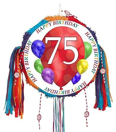 75TH BIRTHDAY BALLOON BLAST PULL PINATA EACH