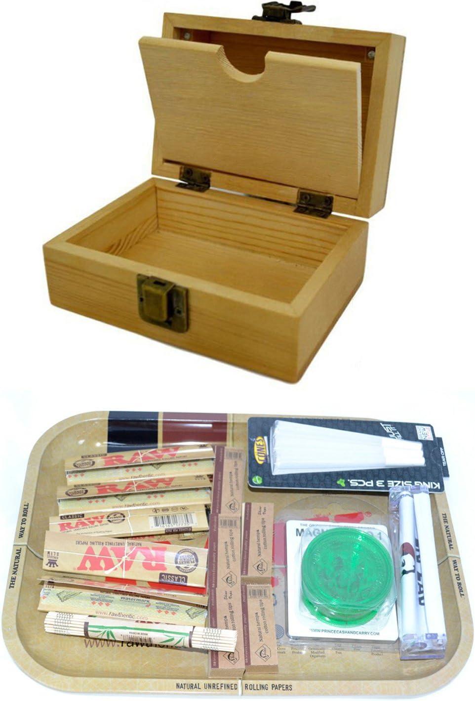 SHINE GRASSLEAF Caja DE Rodillos DE Madera con EL Regalo DE Bandeja Crudo Incluye Papeles/Consejos/Amoladora/Rolling Machine/Mat (Small Box, Large Tray)