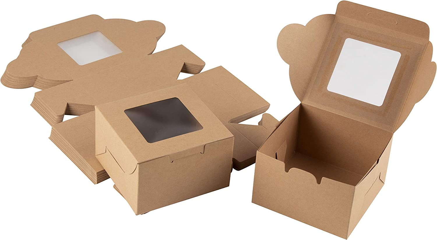 Cake Box – 25 Pack Disposable Pastry Box, Kraft Paper Bakery Box with Display Window for Mini Cake, Cupcake, Cookie, Dessert, Donuts, Pastry - 4 x 4 x 2.3 Inches, Brown