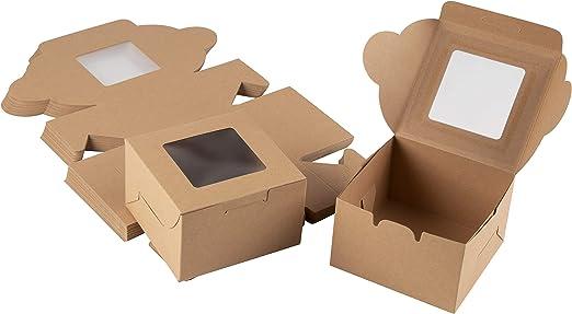 Juvale Cajas de panadería de papel Kraft (paquete de 25) - Soporte ...