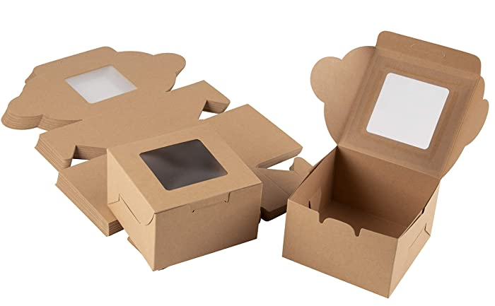 Kraft Paper Bakery Boxes - 50-Pack Single Pastry Box 4-Inch Packaging with Clear Display Window, Donut, Mini Cake, Pie Slice, Dessert Disposable Take-Out Container, Holds 1, Brown, 4 x 2.3 x 4 Inches