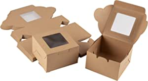 Kraft Paper Bakery Boxes - 25-Pack Single Pastry Box 4-Inch Packaging with Clear Display Window, Donut, Mini Cake, Pie Slice, Dessert Disposable Take-Out Container, Holds 1, Brown, 4 x 2.3 x 4 Inches