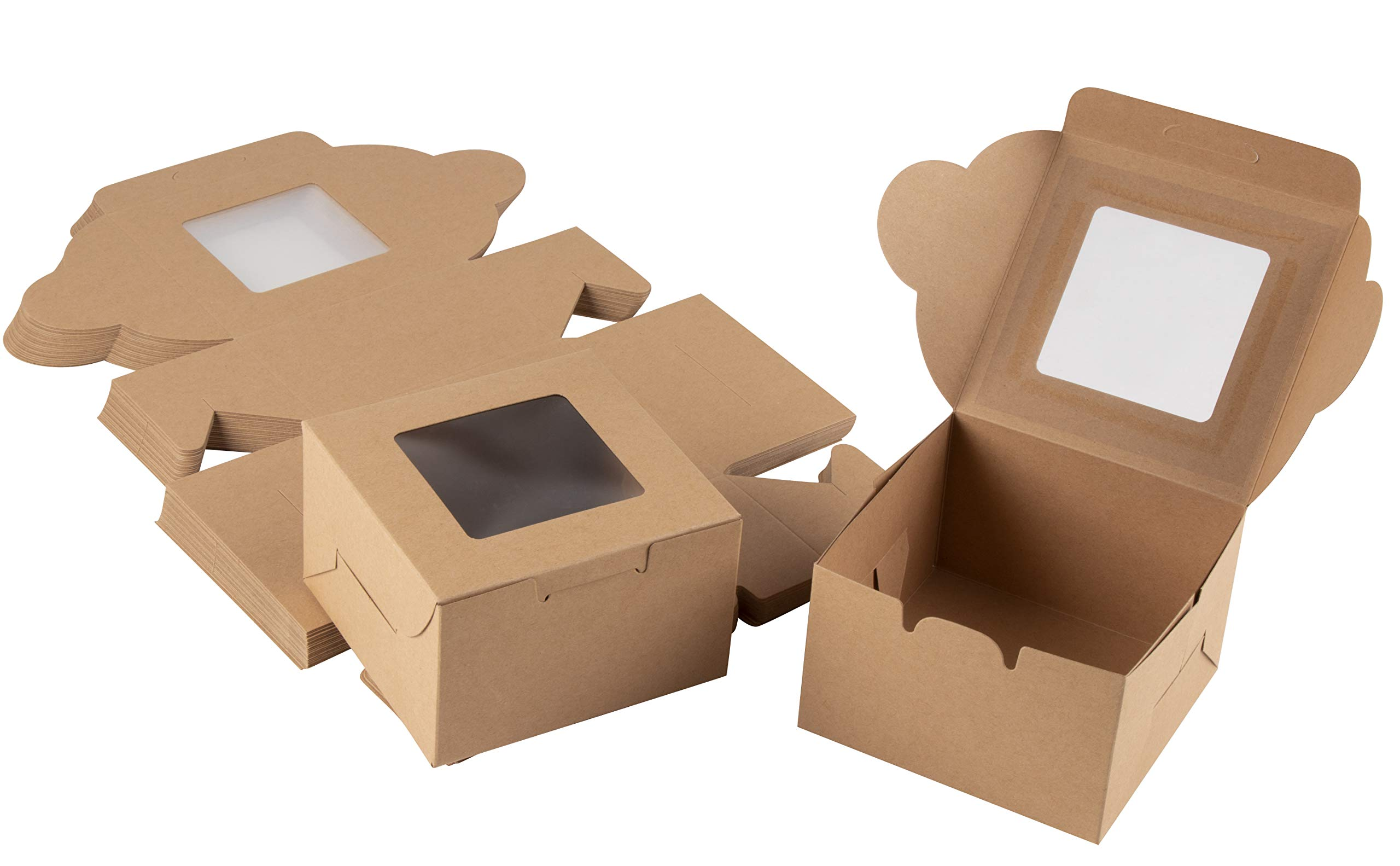 Kraft Paper Bakery Boxes - 50-Pack Single Pastry Box 4-Inch Packaging with Clear Display Window, Donut, Mini Cake, Pie Slice, Dessert Disposable Take-Out Container, Holds 1, Brown, 4 x 2.3 x 4 Inches by Juvale (Image #1)