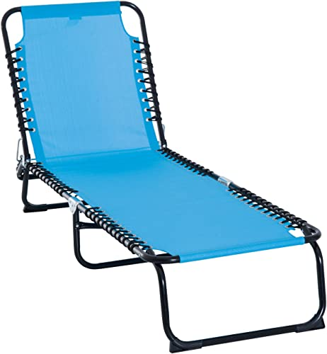 Outsunny Chaise Lounge 3 Adjustable Positions Reclining Beach Chair Folding Chair