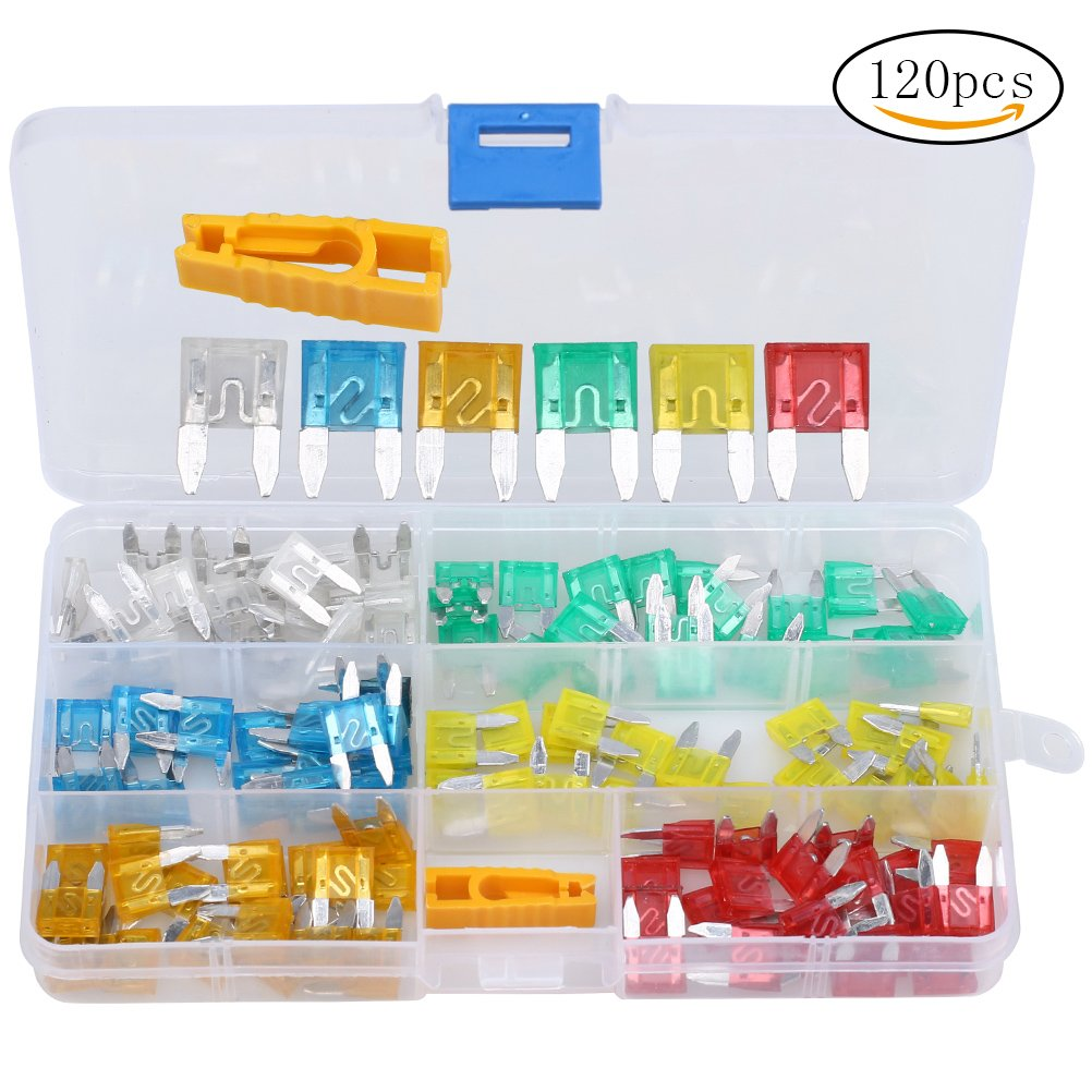 Siming 120 pcs Auto Mini Fuses,Car Standard Blade Fuse/Replacement Fuses/APM Blade Fuses, 5A 10A 15A 20A 25A 35A Assorted Set with 1 Carrying Case