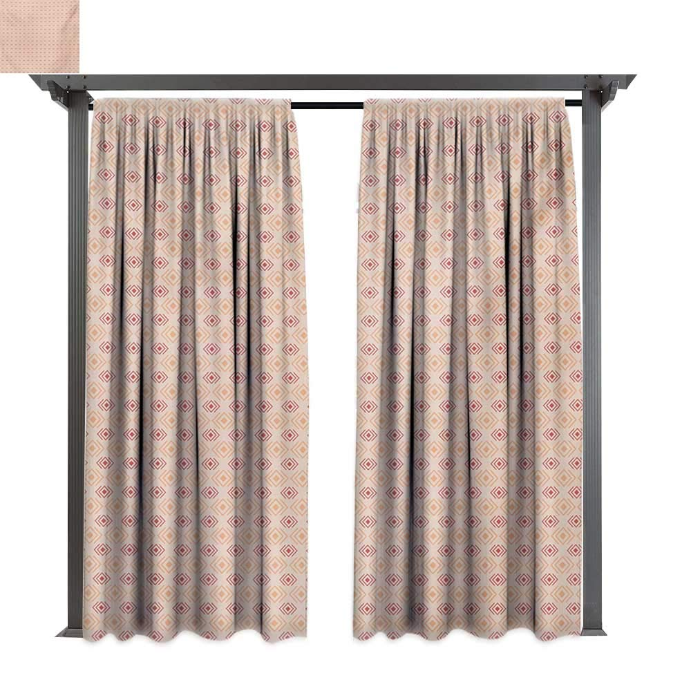 Marina Lea Patio Curtains,Checked Cubical Pattern Nested Design Shady Diagonal Rhombus Tile Art, Outdoor Curtain for Balcony (W84 x L108 Inches Coral Cream and Red)