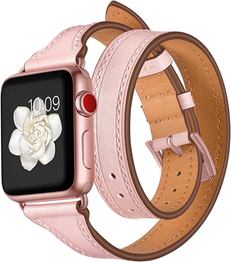 EloBeth Watch Band Compatible with Apple Watch Band 38mm 40mm Series 6 5 4 3 2 1 Leather iWatch Band Women Girls