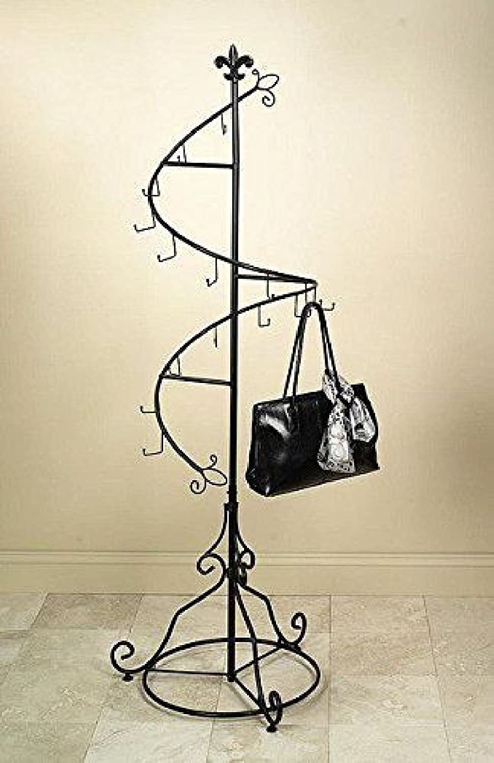 Tripar Brown Metal Display Purse Tree and Jewelry Organizer 74 Spiral Coat Hanger Bag Display Garment Rack Stand with 15 Hooks