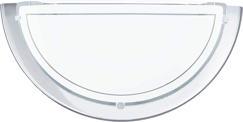 1 flammige Wandleuchte Farbe: Chrom Glas: Wei/ß lackiert Material: Stahl Fassung: E27 EGLO Wandlampe Planet 1
