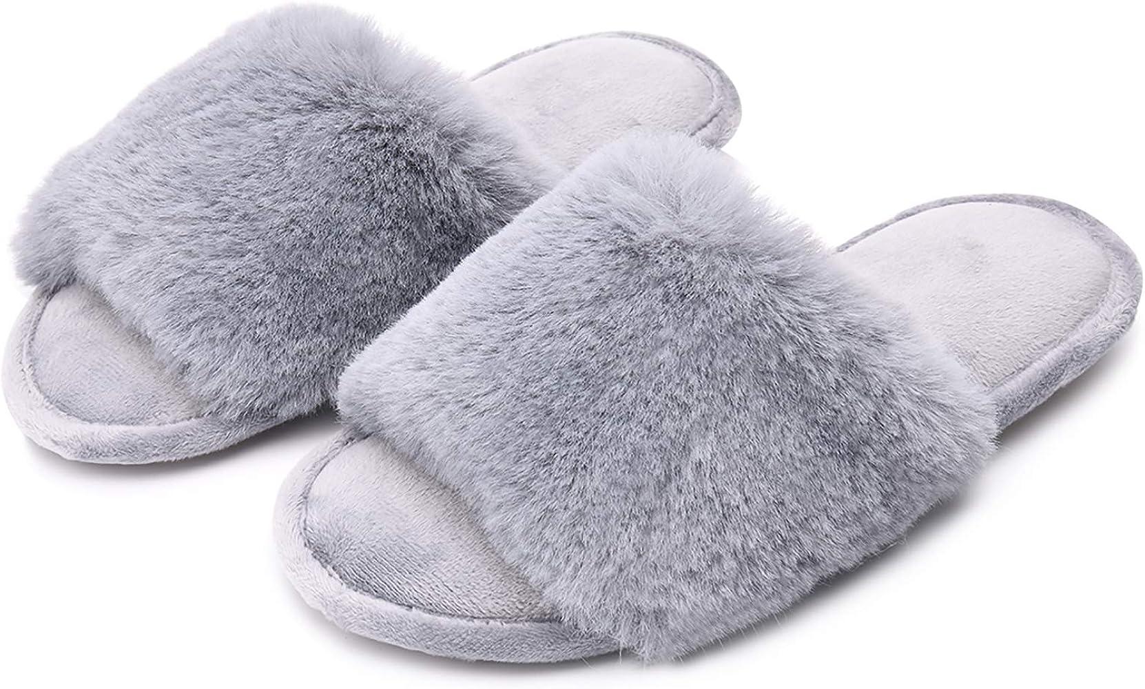 DL Womens Open Toe Slippers Memory Foam