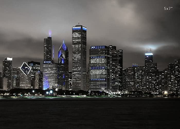 Chicago Skyline Photo Black And White With Blue City Wall Art PAPER PRINT