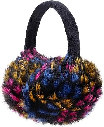 Sudawave Girls Winter Warm Adjustable Knitted Faux Fur Plush Earmuffs Warmers
