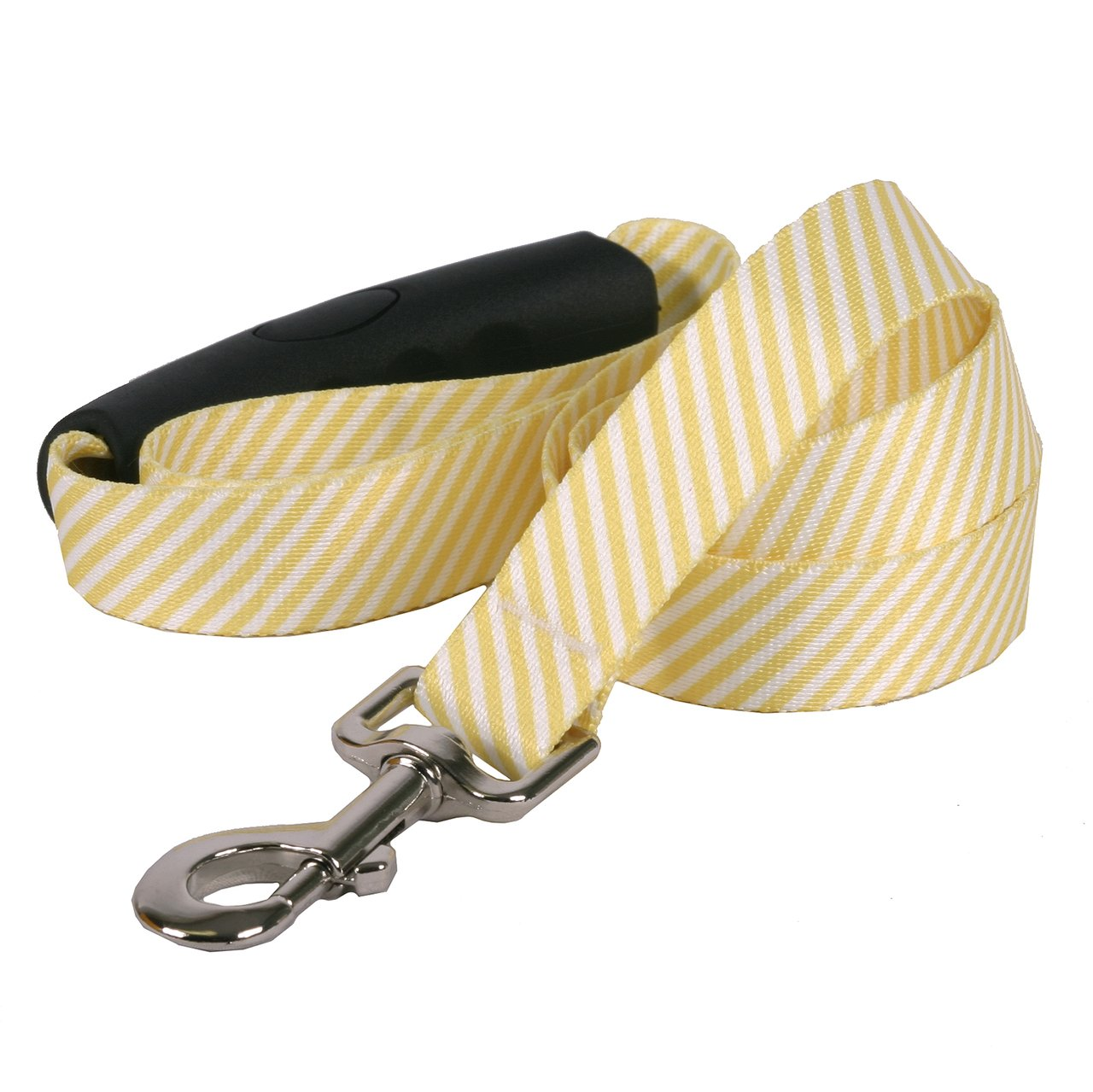 Yellow Dog Design Southern Dawg Seersucker Yellow Dog Leash with Comfort Grip Handle-Large-1'' and 5' (60'')