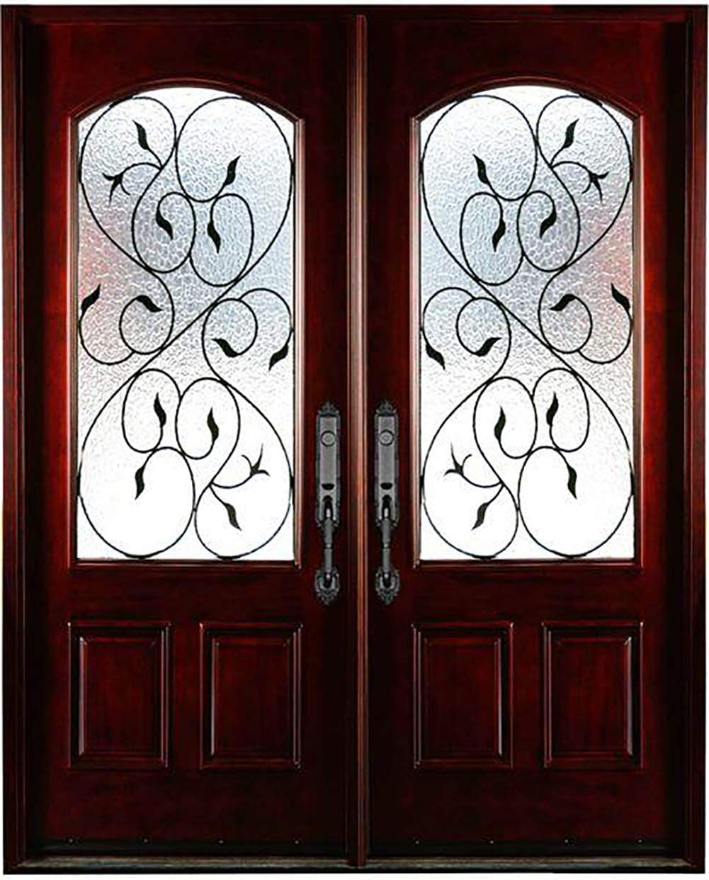 30x30x80 Exterior Front Entry Door Finished Bloom Style Right Hand In Swing Prehung Double Door Mahogany