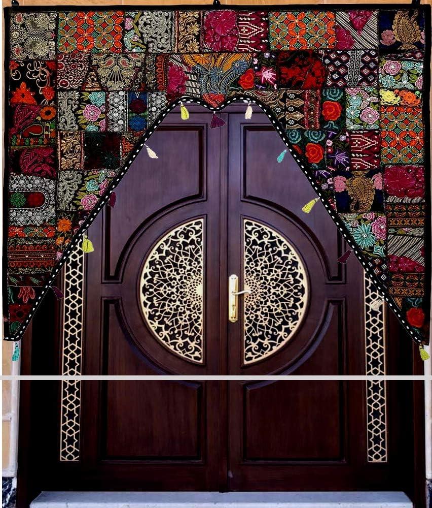 Handicrafts Patchwork Embroidered Window Valence Door Hanging Ethnic Embroidered Handmade Window Door Valences Hanging Toran for Home Decoration (Black)