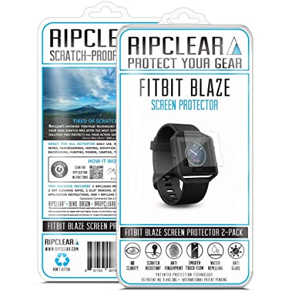 RIPCLEAR Fitbit Blaze Smartwatch Screen Protector Kit - Scratch-Resistant, All-Weather Protection, Crystal Clear - 2-Pack