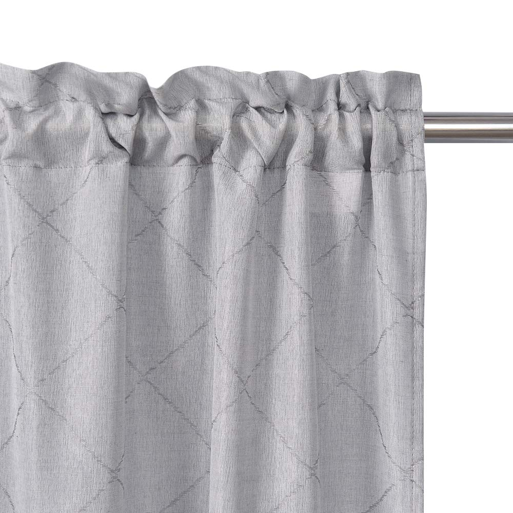 ECODECOR Grey Kitchen Tier Curtains 36-inches Small Window Top Moroccan Tile Pattern Jacquard Caf/é Curtains for Bathroom 2 Panels